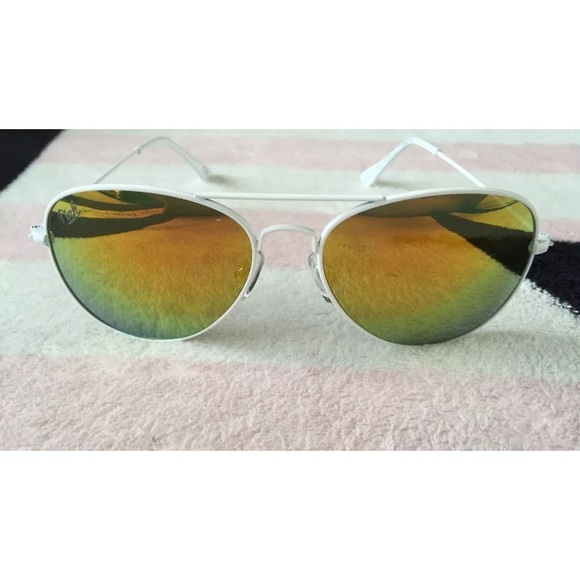 414eb9cca4 VS PINK WARM GRADIENT WHITE AVIATOR SUNGLASSES